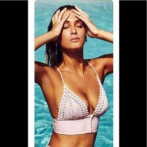 Frankie's Light Pink Ayla Bikini Top In Size Large